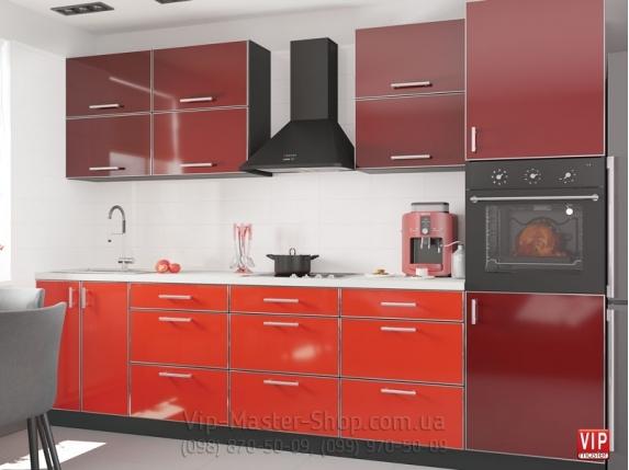 """Кухня """"Mirror Gloss"""" Чили/Бордо"""
